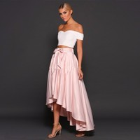 Cheap 2 Pieces Prom Dresses White Top with Pink Skirt Sexy Off the Shoulder Homecoming Cocktail Party Gowns vestidos de baile