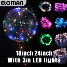 HOT Party LED ballonnen wedding event thuis party decorations 3 m Led linghts super clear led Bobo bubble ballonnen 18 inch 24 inch(China)