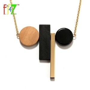 F.J4Z 2017 Geometric Necklaces Fashion Novel Wooden Circle Gold Copper Tube Long False Collar Pendant Necklace for women Bijoux