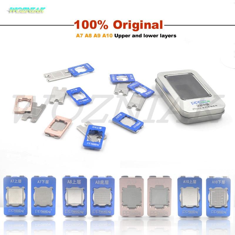 Wozniak PPD Melhor Chip BGA Reballing Stencil para iPhone 6 6 S Plus 6SP 7 A7 A8 A9 A10 CPU ram Reball Stencils Ferramenta planta estanho molde