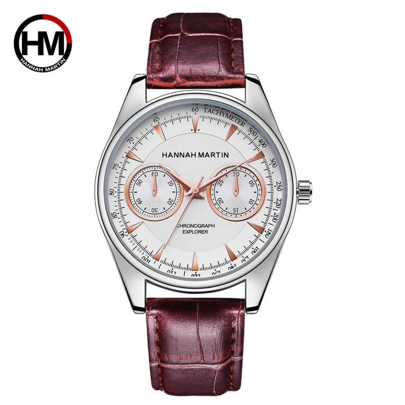 2017 Hannah Martin Luxury Men Date Leather Stainless Steel Sport Quartz Wrist Watch shope 30%