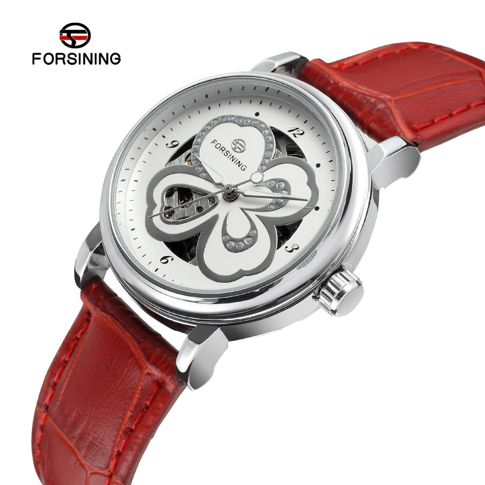 Forsining Women's Watch Skeleton Analog Transparent Crystal Leather StrapFashion Casual Brand Wristwatch Color White FSL8014M3 стоимость