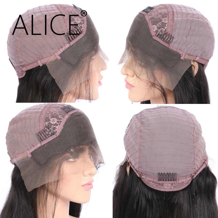 Алиса 150 плотность Синтетические волосы на кружеве натуральные волосы парики с челкой прямо предварительно сорвал бразильский Волосы remy для всех Для женщин натуральный Color13x4