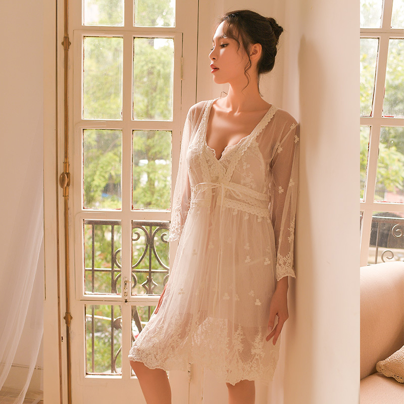 Sexy Mousse Women Sleep Wear Bathrobe Lace White Wedding Night Gowns Deep V Mesh See Through Sexy Young Girl  Comfortable