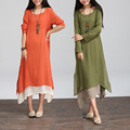 3 Colors Women Elegant O-neck Long Sleeve Maternity Dresses Cotton Linen for Pregnant Women Plus Size Dresses Vestidos CE211