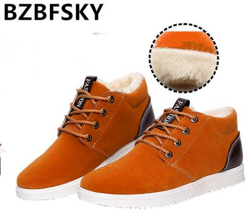 BZBFSKY Ankle boots for men boots waterproof 2017 short plush warm shoes cheap flat with snow boots suede 39-44 winter boots