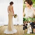 Elegant Wedding Dress 2017 Luxury Crystal Beaded O-Neck Open Back Vestido De Noiva Chiffon Custom Made Plus Size Bridal Gowns