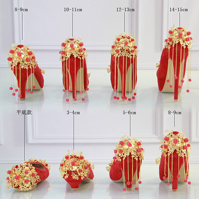 Red shoes Suede fringed bride wedding shoes tip high-heeled dress shoes golden flowers autumn female shoes tassel fashion big flowers pink bride high heeled shoes waterproof taiwan fine with hollow wrist dress shoes wedding shoes sandals