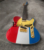 Eagle. Butterfly electric guitar, electric bass shop, rock and metal guitar, tele, French flag, metallic red, white and blue ele