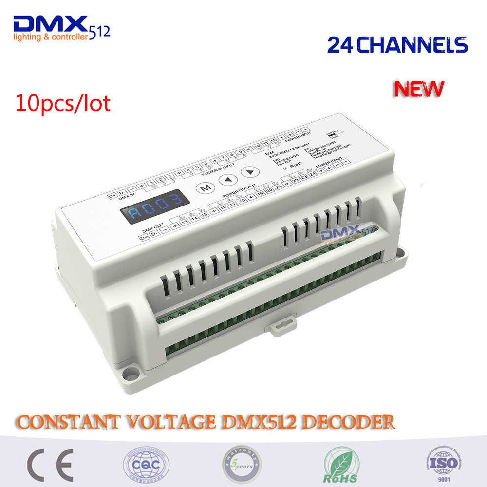 DHL Free shipping 10pcs 24Channel Constant Voltage DMX512 Decoder;DC5-24V input;3A*24CH output Din Rail 24 Channel DMX Decoder mokungit 24ch easy dmx512 rgb decoder dimmer controller ws24luled dc5 24v 24 channel 8 group each channel max 3a