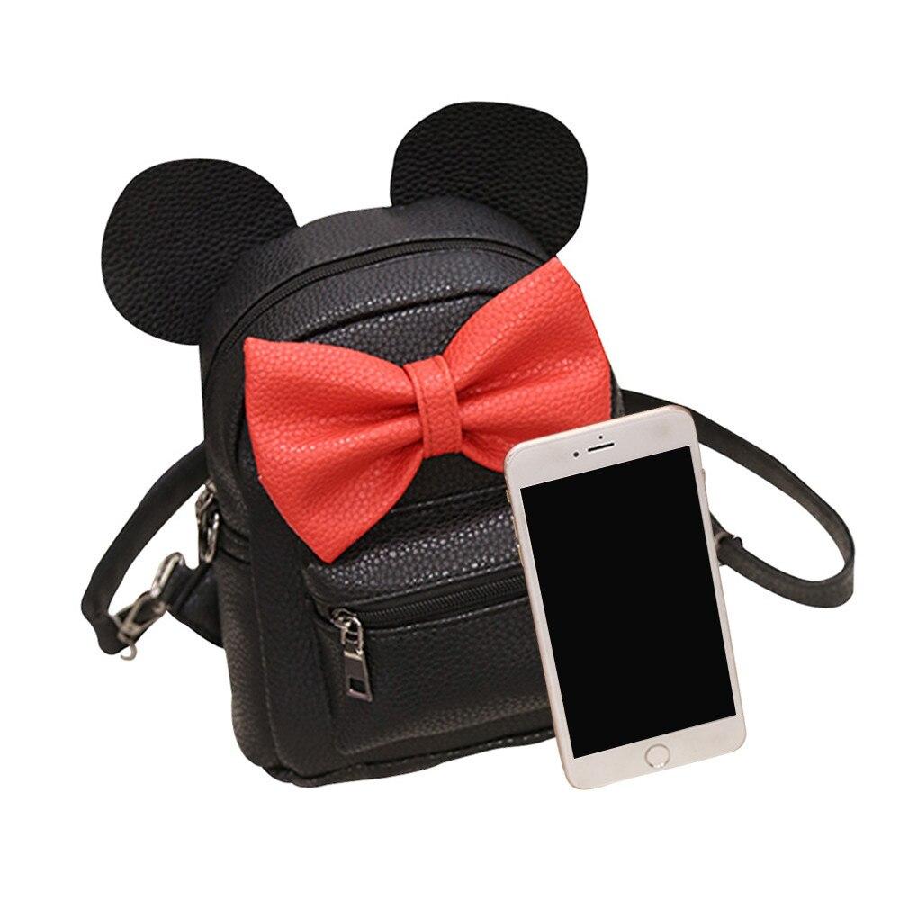 HTB1iXRDum8YBeNkSnb4q6yevFXaH 2018 New Mickey Backpack Pu Leather Female Mini Bag Women's Backpack Sweet Bow Teen Girls Backpacks School Lady Bag Shoulder bag