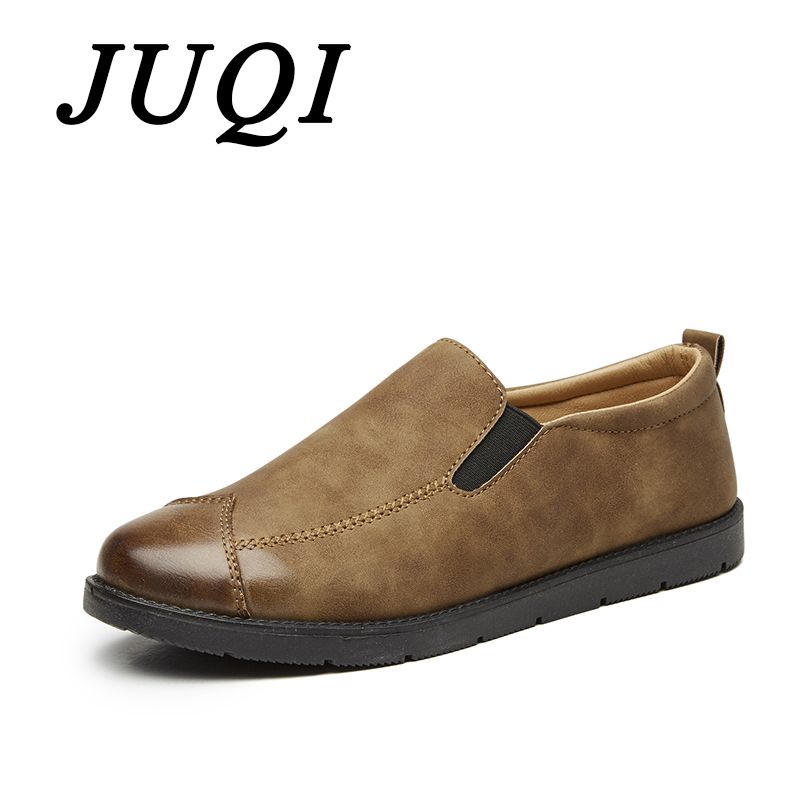 JUQI Newest Fashion Men Leather Loafer Shoes Top Quality Driving Moccasins Slip-On Loafers Flat Casual