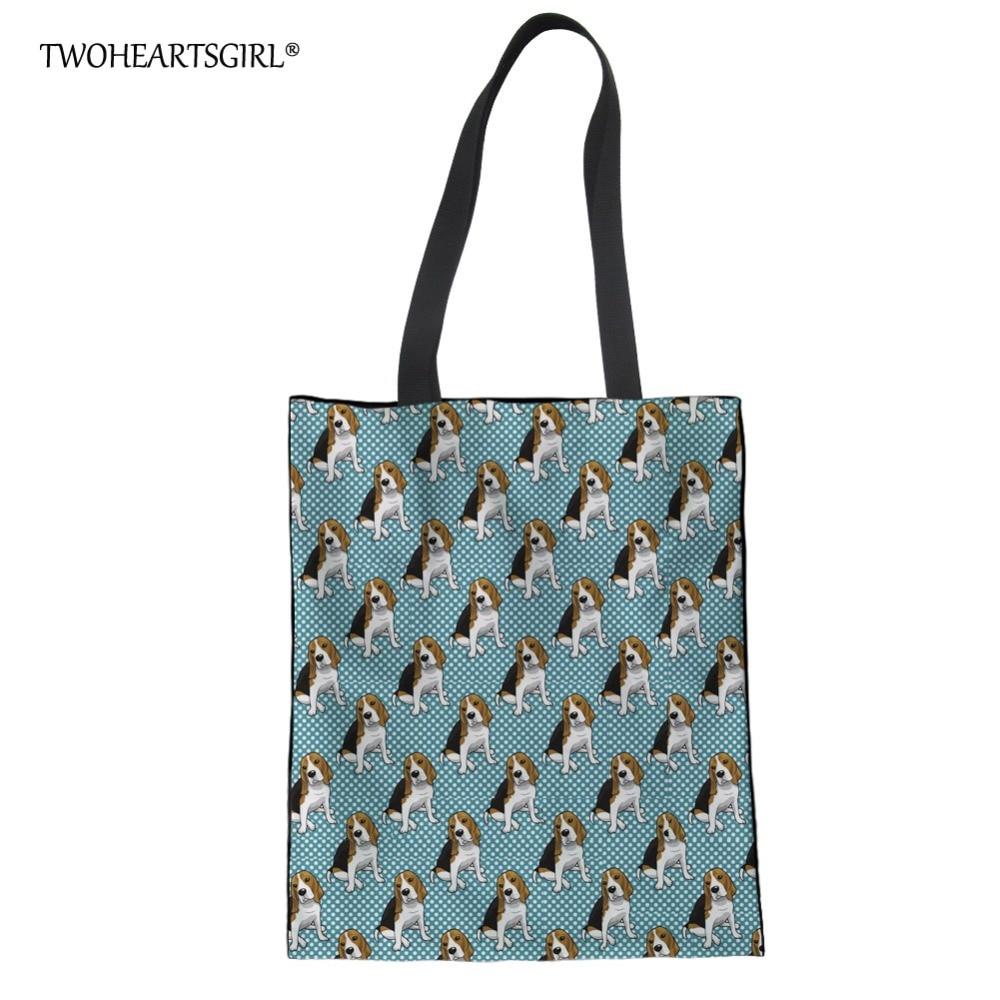 Twoheartsgirl Cute Polka Beagle Print Shoulder Bag For Female Women Animal Dog Canvas Handbags Casual Shopping Tote Bags