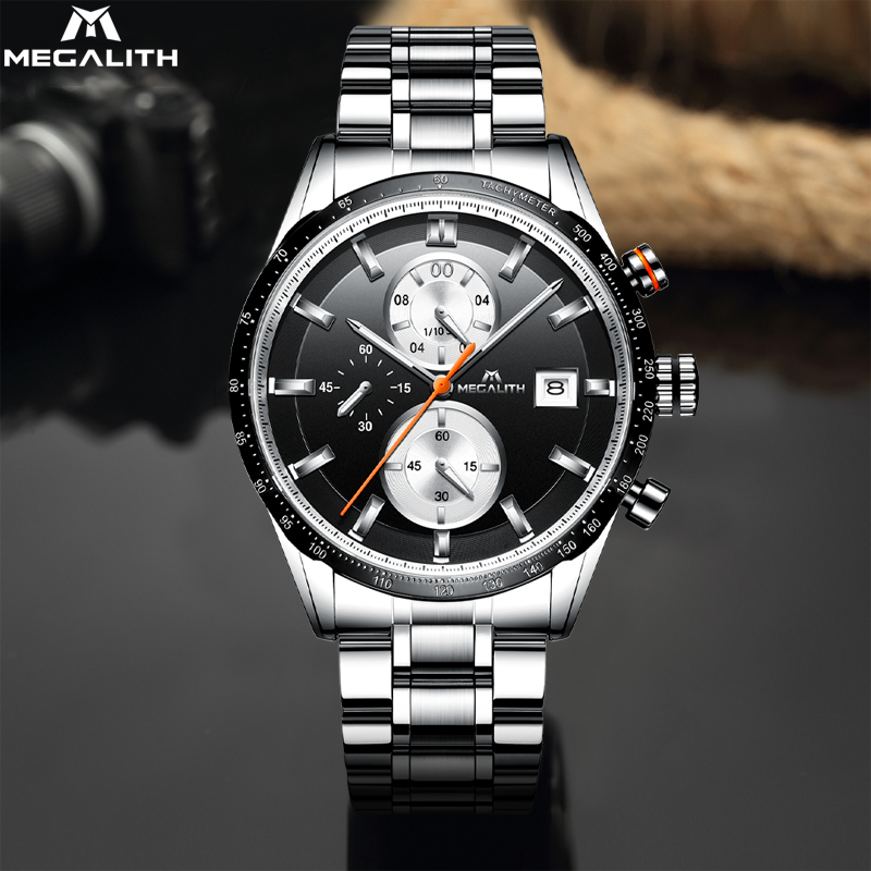 MEGALITH Top Fashion Brand Mens Watches Chronograph Sport Waterproof Stainless Steel Quartz Watch Men Clocks Male Reloj Hombre