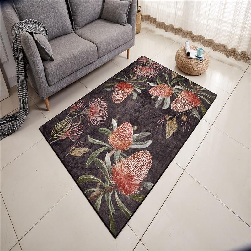 120X180 cm Chenille tissu doux tapis pour salon chambre enfant chambre tapis fleur pastorale Style maison tapis plancher porte tapis