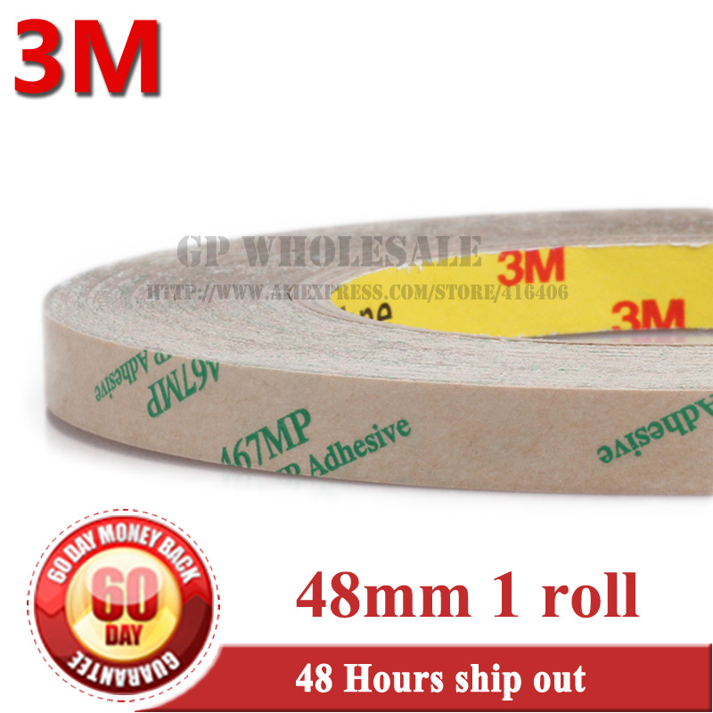 1x 48mm width*55M* 0.06mm Thickness 3M 467MP 200MP Double Sided Tape Sticky Clear Pure Lamination Sticky for Plastic, PCB Bond стоимость
