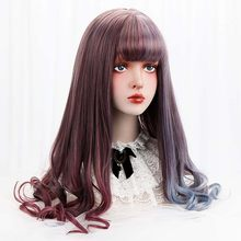 28''Synthetic Long Wavy Lolita Wigs With Bangs Purple Blue Ombre Custom Party Cosplay Wigs For Black/White Women Heat Resistant(China)