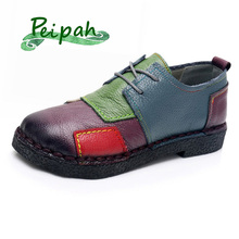 PEIPAH Handmade Patchwork Moccasins Cow Leather Women Flats
