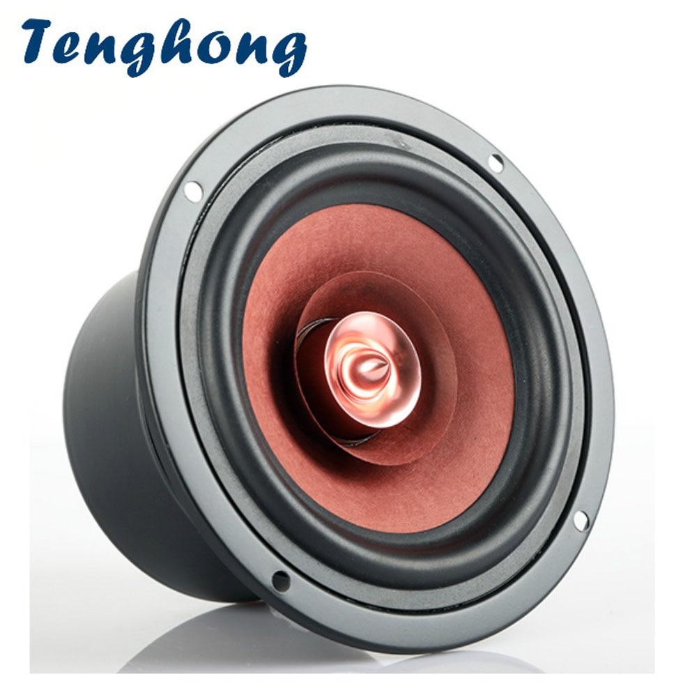 Tenghong 4 Inch Bookshelf Speaker 4 Ohm 8 Ohm 30W Hifi Bullet Full Range Audio Speaker For Loudspeaker DIY 1pcs magnetically shielded 3 inch full range speaker unit speaker av 3301f 60w 4 ohm for amplifier