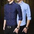 Plus Size 5XL 2016 Nova Moda Casual Mens Camisas Longas manga da Camisa De Algodão Turn Down Collar Blusa Roupas Masculinas para homens