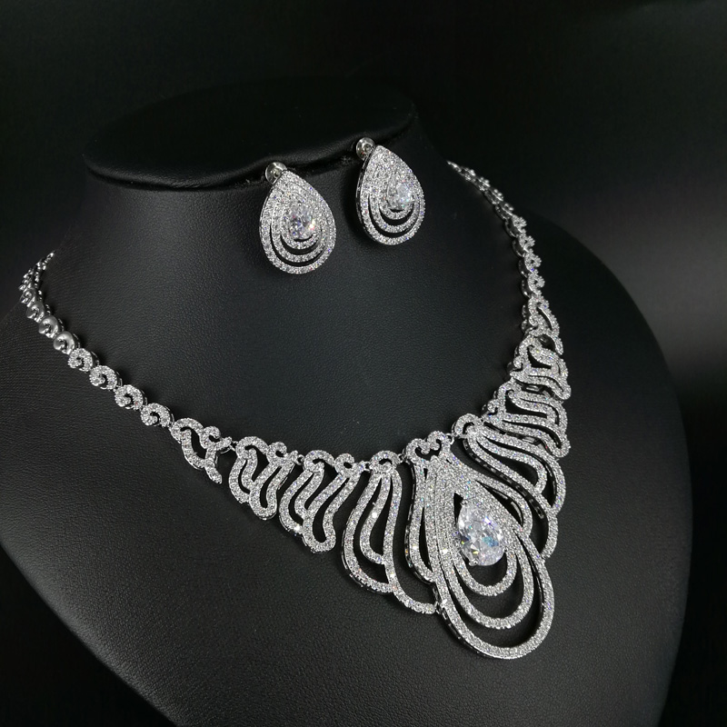 2019 new fashion OL style crystal water drop zircon necklace earring set,wedding bride dinner party dress jewelry free shipping2019 new fashion OL style crystal water drop zircon necklace earring set,wedding bride dinner party dress jewelry free shipping