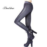 Ashion Faux Leather Stitching Thicken Velvet Leggings Women S Winter Leggings Pants Slim Pencil Pants Plus