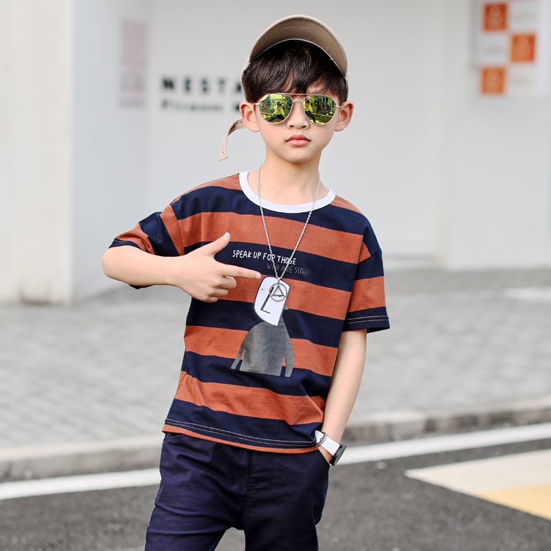 TUTUYU2018 new boys summer suit children big handsome short-sleeved sports two sets of summer childrens clothing Korean version