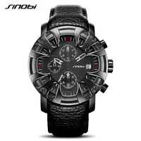 SINOBI S9760 Watch For Men Sports Quartz S Shock Watches With Soft Leather Straps Eagle Claw