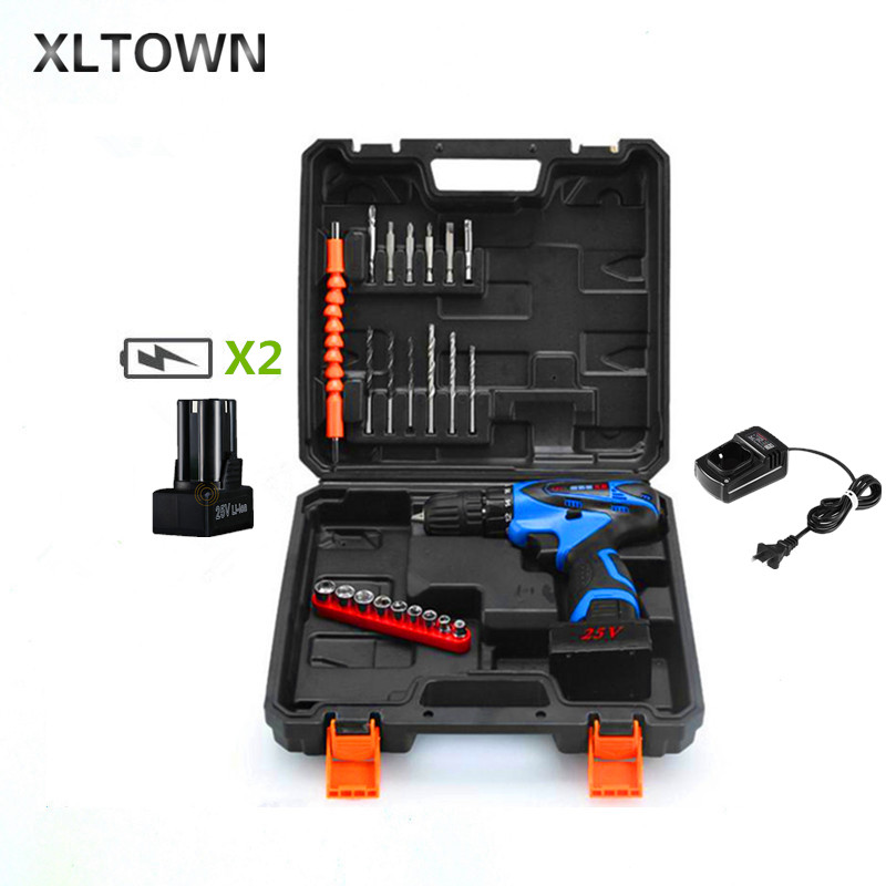 Xltown 25V plastic box Multi-function Rechargeable 2* Lithium Battery  Electric Drill Bit Home Cordless Electric ScrewdriverXltown 25V plastic box Multi-function Rechargeable 2* Lithium Battery  Electric Drill Bit Home Cordless Electric Screwdriver