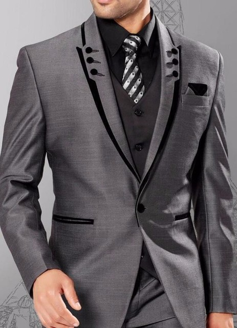 Grey Colour Formal Pant Latest Coat Pant Designs Grey Formal Men Suit Wedding Slim
