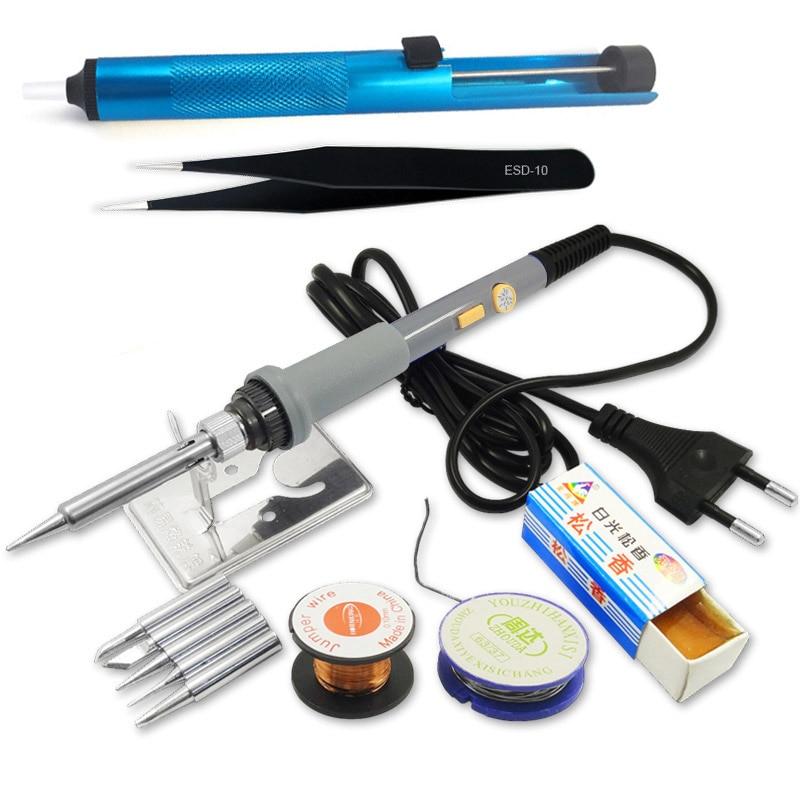 DGKS 220V 60W Power Adjustable Temperature Electric Soldering Iron Set Welding Solder Station Heat Pencil 12pcs Tool Kit цены