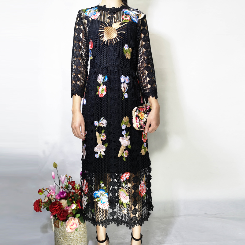Haute qualité créateur robe de piste femmes 3/4 manches fleur Applique de luxe brodé dentelle haute rue mode mi mollet robe - 6