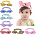 Baby Girl Headband Top knot headbands Headwrap Pink Bunny ears hairband cotton baby girls turban accessories 1pc HB419