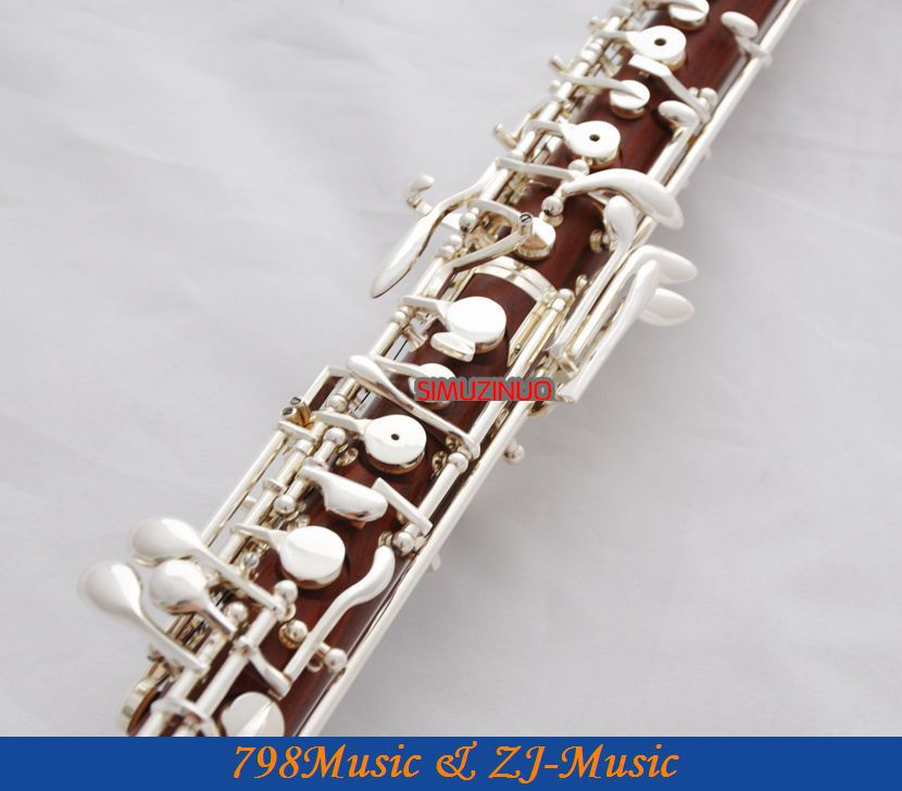 Professional Rose Wooden Body Oboe Silver Plated C Key With Case-Semi-Automatic