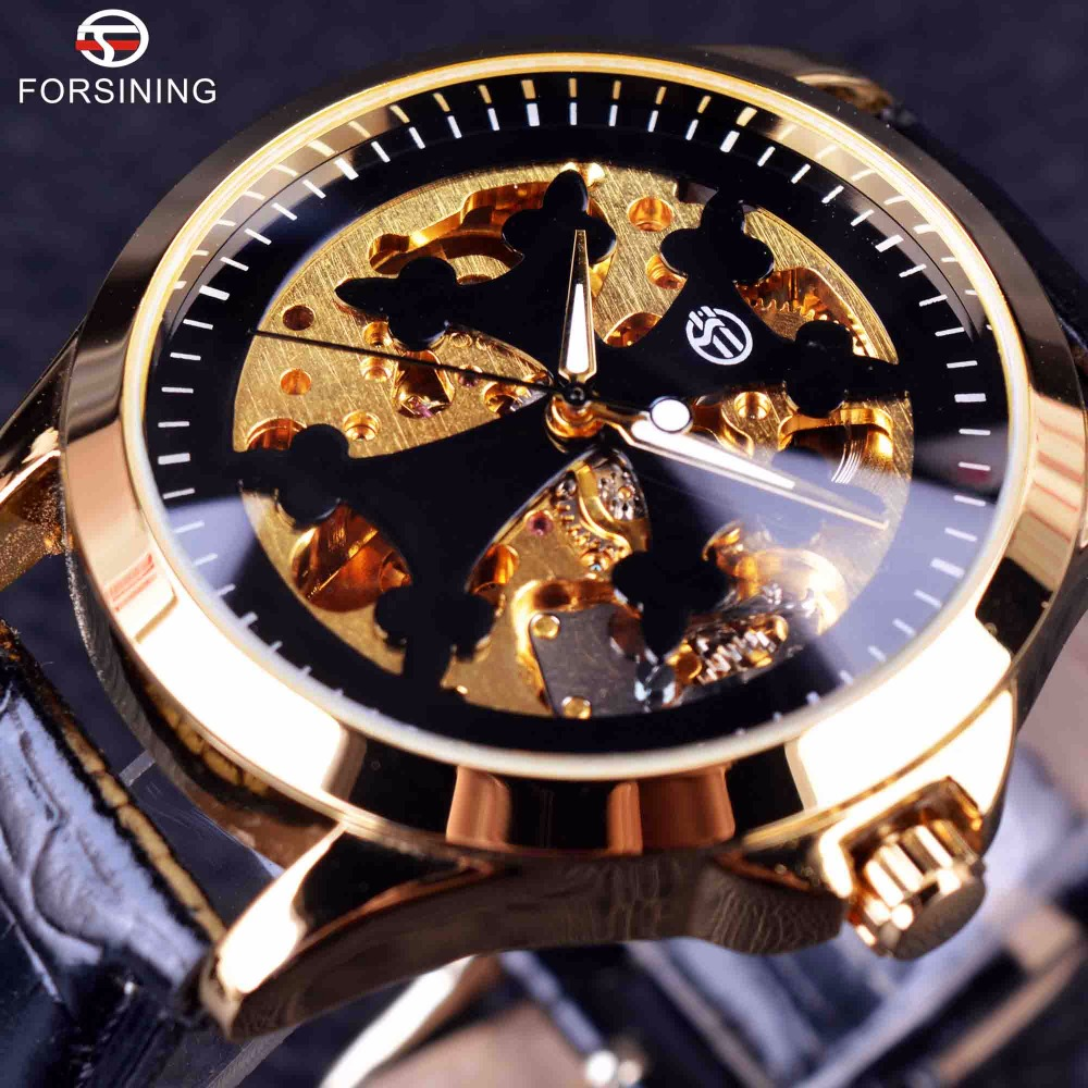 Forsining Classic Transparent Case Golden Skeleton Mens Watches Top Brand Luxury Automatic Watch Clock Men Male Wrist Watch jaragar classic dual movement design automatic quartz watches clock mens watches top brand luxury watch men skeleton wrist watch
