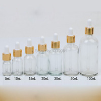 5 ml, 10 ml, 15 ml, 20 ml, 30 ml, 50 ml, 100 ml בקבוקי זכוכית עם טפטפת ברור מיני DIY בקבוקון מדגם בקבוק שמן אתרי זהב רים