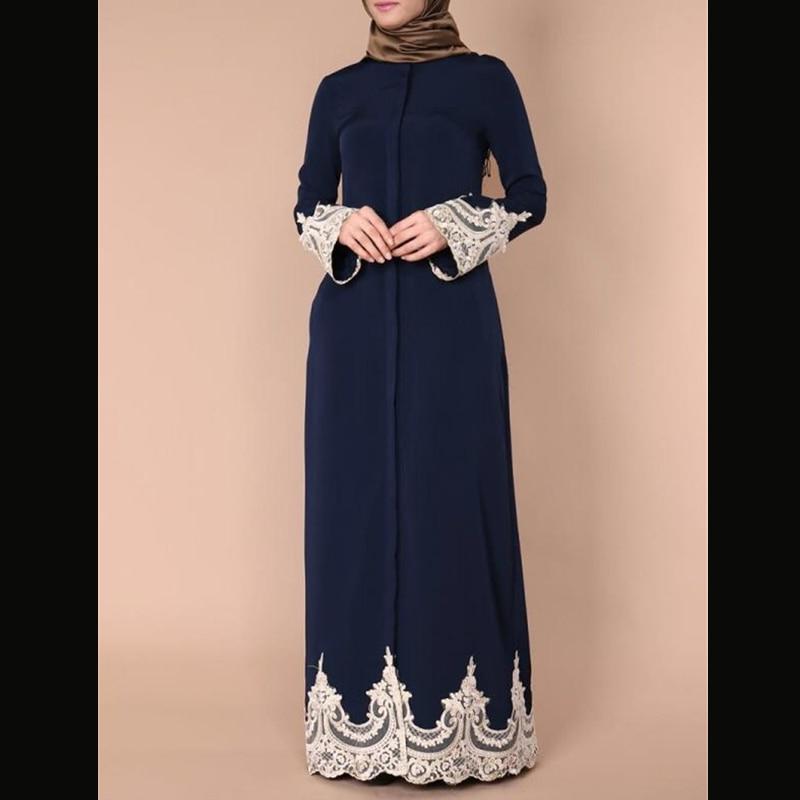 Grande taille Vestidos 2019 Abaya dubaï Caftan dentelle chemise Musulmane Hijab  Robe arabe Robe Musulmane Caftan turc vêtements islamiques