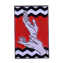 3379ed17c Twin peaks enamel pin red room hands up brooch David Lynch badge suspense  fans gift creative friends accessories