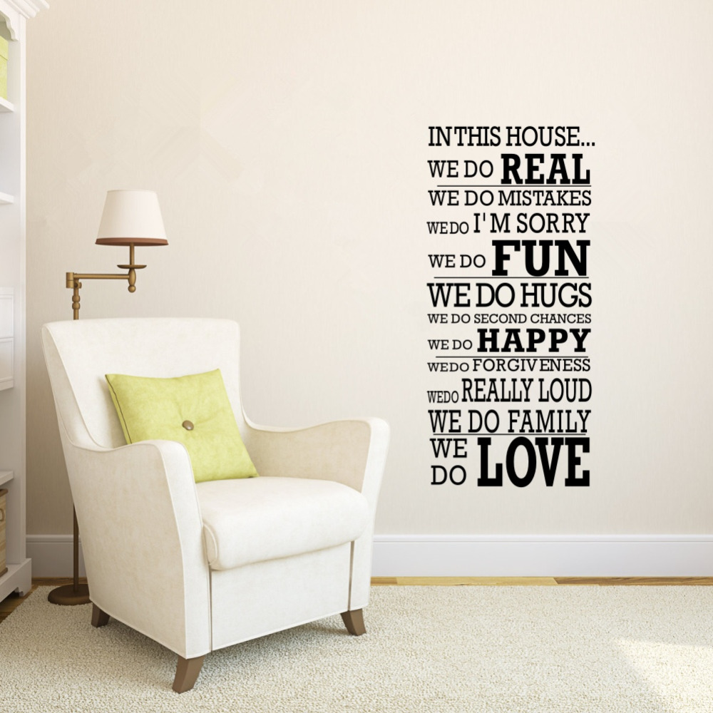 aliexpresscom  buy removeable large wall decals quotes house  - aliexpresscom  buy removeable large wall decals quotes house rule we doreal fun happy love vinyl art stickers for home decor from reliable stickerspig