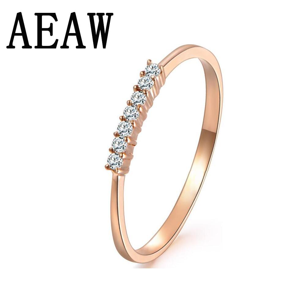 14 Karat Roségold Runde Natürliche Diamant-verlobungsring Band Hochzeit Für Frauen