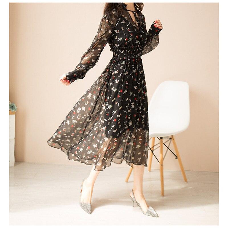 Pure Soie Robe Femmes D'été Naturel Soie Imprimé Floral Robes Une Ligne Vintage Élégant mi-mollet Longueur Réel Soie vacances Robe