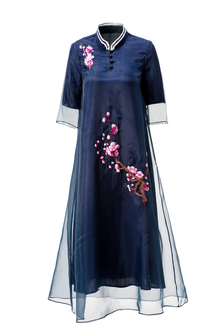 Free shipping Spring/Summer original design Chinese style peach flower Embroidered big size loosen organza long dress for women - 4
