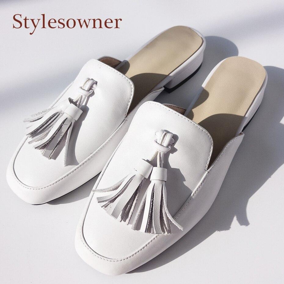 Stylesowner белый натуральная кожа кисточкой половина Дамские тапочки близко с квадратным носком летние сандалии вне слайды с fashion fringe