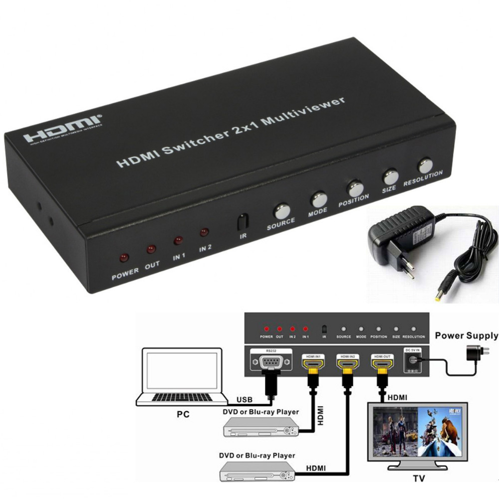 Quality V1.3 2x1 HDMI Multi-Viewer Box 1080P 2 In 1 out HDMI Switch Support HDCP 1.2 PIP Can display on one screen in 4 modes full 1080p hdmi 4x1 multi viewer with hdmi switcher perfect quad screen real time drop shipping 1108