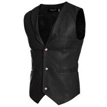 2017 Men PU Leather Casual Vest Autumn Spring Fashion Sleeveless Jacket Casual White Red Black Vest Men Slim PU Men Vest Z30