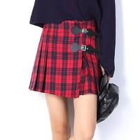 2017 Fashion Red Black Plaid Women Pleated Skirt Mini Skirt For Girl High Waist Zipper Shorts
