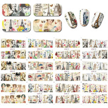 12sheets/lot Nail decals nail stickers Iron tower transfers tattoo flowers decoration polish
