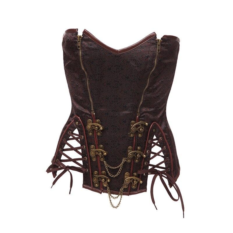 Women's Vintage Gothic Steampunk Corset Sexy Brocade Steel Boned Underbust Corset Bustier with Chains Waist Cincher