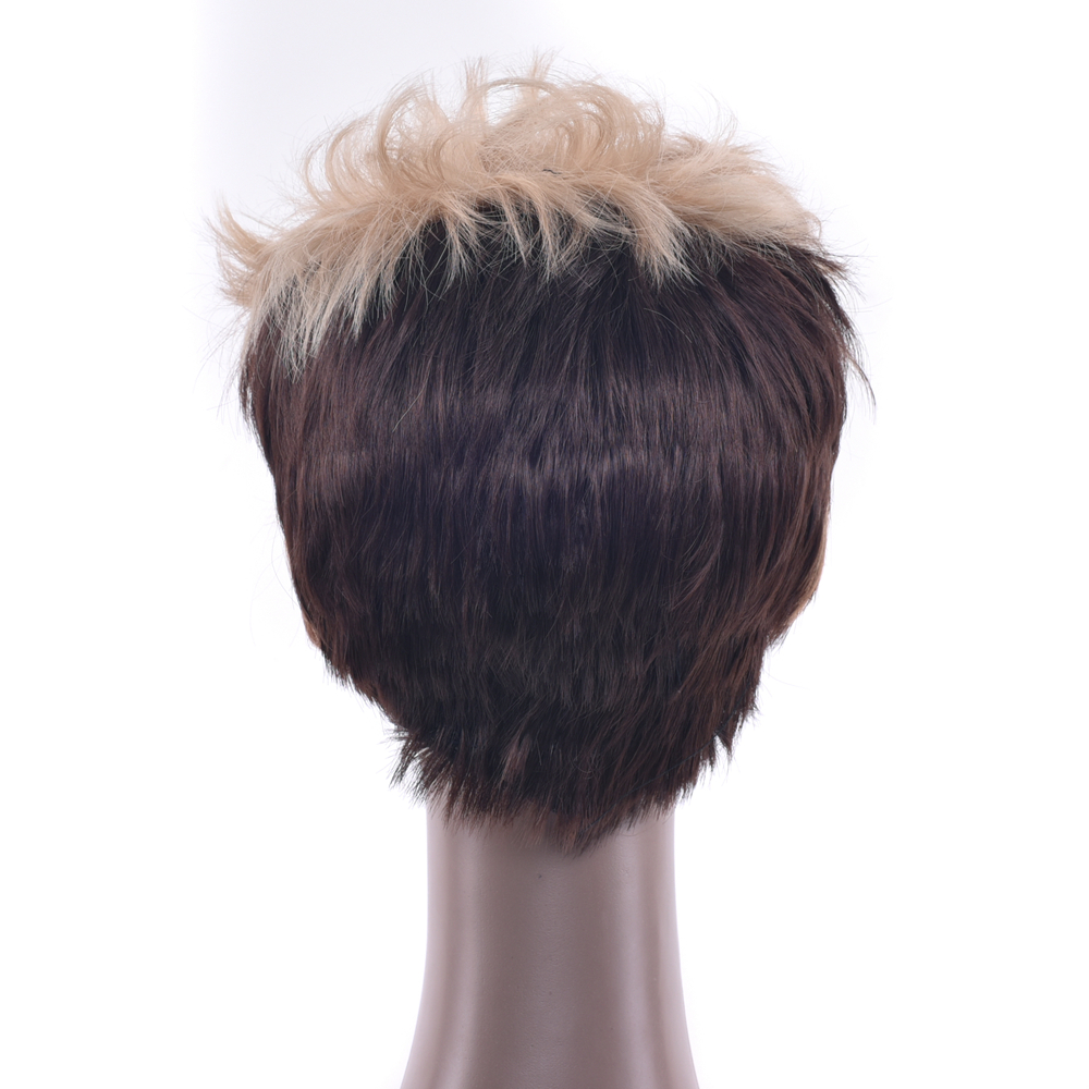 Soowee Короткие вьющиеся Синтетические волосы высокое Температура Волокно Искусственные парики коричневый партии волос Косплэй парик для Дл...
