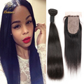 Brazilian Virgin Hair Straight 3 Bundles With Silk Base Closure Jet Black Brazilian Straight Human Hair With Silk Base Closure
